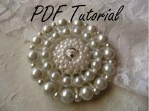 wedding photo - MaryKate White crystal pearl bridal brooch Fabric flower brooch bouquet component PDF tutorial Wedding boutonniere hair pin belt applique
