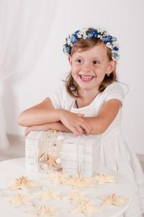 wedding photo - Girl boho headpiece Flower girl hair wreath Blue white flower crown White blue flower halo Woodland floral crown Children flower crown fairy