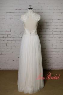wedding photo - High Collar Wedding Dress with Cap Sleeves Champagne Underlay Wedding Dress with Keyhole Back
