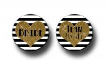wedding photo - Digital Gold Glitter and Black Stripes Team Bride Bachelorette Bridal Shower Party Favors 2.25 inch Pinback Buttons, pins, Badges