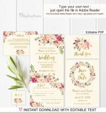 wedding photo - Floral Wedding Invitation Template, Ivory Boho Chic Wedding Invite Suite, Gold Foil Invite, #A009D, Editable PDF - you personalize at home.