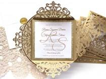wedding photo - 25 x Gold Glitter Wedding Invitation, White and Gold Wedding Invitations, Laser Cut Wedding Invitations, SKU: CW519