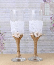 wedding photo - Wedding Glasses Burlap and Lace Toasting Flutes Mr and Mrs Champagne Glasses Wedding Reception Bride and Groom Glasses