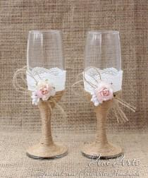 wedding photo - Rustic Country Wedding Glasses Cottage Chic Toasting glasses Rustic Mr and Mrs Toasting Flutes Bride and Groom Chamgpagne Glasses