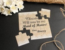 wedding photo - Will You Be My Maid of Honor Puzzle Burlap and Lace Proposal Will You Be My Bridesmaid Invitation Flowergirl Invitation Wedding Invitation
