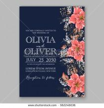 wedding photo - Wedding Invitations with anemone flowers. Anemone Bridal Shower invitation cards in navy blue theme with red peony