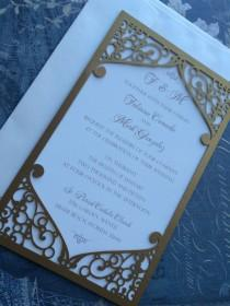 wedding photo - Laser Cut Wedding Invitation Pocket, Elegant Swirl Frame, Custom Personalized. Die Cut Pattern
