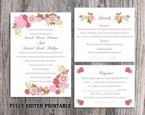 wedding photo - Printable Wedding Invitation Suite Printable Boho Invitation Floral Wedding Invitation Pink Invitation Download Invitation Edited PDF file
