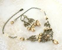 wedding photo - Vintage Style Wedding Jewelry - Swarovski Crystal Antique Victorian Style Bronze Brass Filigree Vintage Gold Pearl Set Necklace Earrings