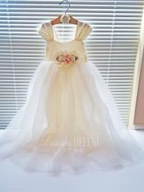 wedding photo - Ivory Floor Length Flower Girl Dress - Hopeless Romantic Flower Girl Dress - Ivory Flower Girl Dresses