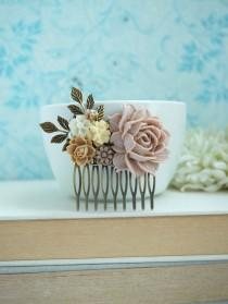 wedding photo - Shabby Dusty Pink Rose, Ivory, Brown, Leaf, Vintage Style Hair Comb. Bridesmaids Gift. Nature Ranch Country Wedding.
