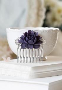 wedding photo - Purple Flower Bridal Hair Comb Silver Bridal Hair Piece Hairpiece Bridesmaid Gift Eggplant Purple Wedding Hair Accessory Romantic Vintage