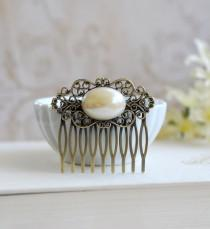 wedding photo - Pearl Filigree Hair Comb, Vintage Oval Cream Ivory Pearl Antique Brass Filigree Comb, Wedding Hairpiece, Bridal Hair Accessory