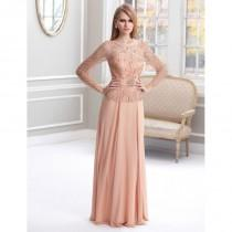 wedding photo - Terani Mother of the Bride M1819 Peach,Light Silver Dress - The Unique Prom Store