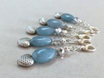 wedding photo - Light Blue Aquamarine Gemstone Favors, Crystal Keychain, Small Keychain, Crystal Wedding Favors, Blue Party Favors, Blue Purse, Zipper pull