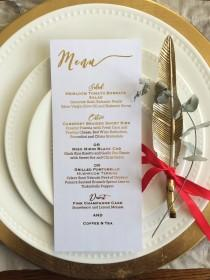 wedding photo - Gold foil menu card/dinner menu/wedding menu/wedding menu card/ wedding place setting/ gold menu/place card/escort card/ dinner menu
