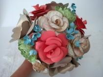 wedding photo - Song sheet rose, coral rose, gold anemones, green ranunculus, paper flower, bridal flowers, burlap wrapped handle, wedding flowers, unique