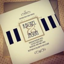"wedding photo - Gatsby Striped Art Deco Invitation Suite - ""The Rachel"""