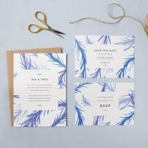 wedding photo - Blue botanical wedding invites