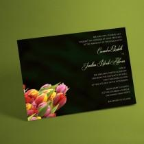 wedding photo - Spring Tulips tulip bouquet Wedding Invitation Suite, floral bouquet for spring wedding, summer wedding, post card rsvp available