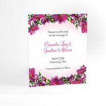 wedding photo - Floral Wedding Save the Date cards with watercolor flowers, garden bouquet. Floral arrangement, free envelopes, matching wedding invitations