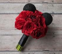 wedding photo - Disney Wedding Mickey Wedding Bouquet - Red Rose Wedding Bouquet