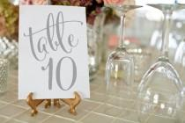 wedding photo - Silver Wedding Table Numbers ⋆ Printable Wedding Table Numbers ⋆ Gray Wedding Table Decor ⋆ 4X6 Table Number Cards ⋆ PDF File ⋆