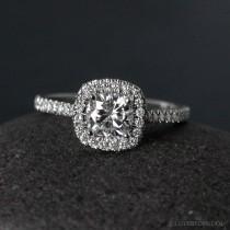 wedding photo - Halo Engagement Ring - Forever Brilliant Moissanite - Half-Eternity Band, Classic Engagement Rings