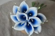 wedding photo - 10 Picasso Royal Blue Calla Lilies Real Touch Flowers For Silk Wedding Bouquets, Centerpieces, Wedding Decorations