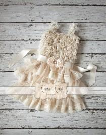 wedding photo - Rustic Flower Girl Dress, Country Girl Dress, Baby Girl Vintage Dresses, Flowergirl Dress, Ivory Lace Dress, Ruffle Dress, CHOOSE SASH COLOR