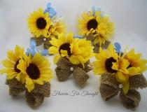 wedding photo - Rustic Sunflower Burlap Corsages, Yellow Blue Silk Flowers, Spring Summer Fall Wedding, Bridal Party Favor, FFT original, Made to order