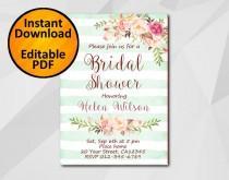 wedding photo - Editable Bridal Shower Invitation, Watercolor turquoise stripe, Instant Download diy wedding, etsy Bridal Shower XB302ts-4