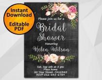 wedding photo - Editable Bridal Shower Invitation, Chalkboard Invitation, Instant Download diy wedding, etsy Bridal Shower invitation XB002c4