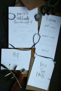 wedding photo - Watercolour Calligraphy Wedding Set - Packs of 25 - Invitations