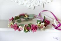 wedding photo - Wedding flower crown Hot pink roses hair wreath Flower berries bridal crown Pink wedding floral halo Garden headpiece Boho crown