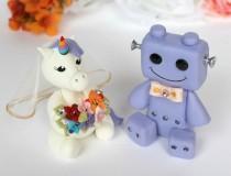wedding photo - Unicorn and Robot wedding cake topper, custom bride and groom cake topper, geek nerd cake toppers, rainbow unicorn cake topper
