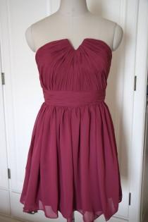 wedding photo - Red Purple Short/Floor Length Strapless Bridesmaid Dress Chiffon Red Bridesmaid Dress-Custom Dress