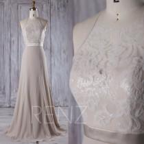 wedding photo - 2016 Long Cream Chiffon Bridesmaid Dress, Sweetheart Illusion Wedding Dress, Lace Top Prom Dress, Backless Ball Gown Floor Length (J189)