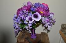 wedding photo - Purple organic bridal bouquet daisies calla lilies tulips gerber daisies