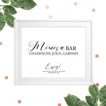 wedding photo -  Mimosa Bar Sign Printable-Bubbly Bar Sign-Wedding DIY Cocktail Bar-Calligraphy Mimosa Bar Sign-Personalized Rustic Chic Bar Sign-Wedding Bar