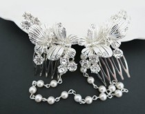 wedding photo - Bridal Headpiece, Butterfly Hair Comb, Wedding Hair Piece, Crystal Pearl Hair Comb, Wedding Headpiece, Vintage, Summer Wedding, Bride Hair