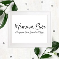 wedding photo -  Mimosa Bar Sign Printable-Bubbly Bar Sign-Wedding DIY Cocktail Bar-Stylish Hand Lettered Script Sign-Personalized Rustic Chic Bar Sign