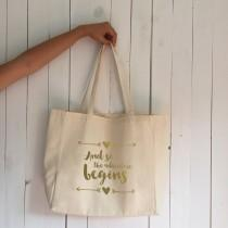 wedding photo - Wedding tote bag, and so the adventure begins tote bag, bachelorette tote, bridal tote bag, bridesmaid tote, custom tote bag, favor bag