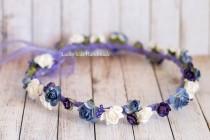 wedding photo - Plum flower crown, Wedding hair wreath, Wedding flower crown, Purple floral crown, plum floral headpiece, Wedding halo, Flower girl