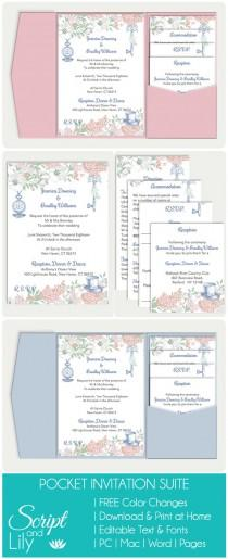 wedding photo - Pocket Wedding Invitation Template Set