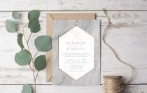 wedding photo - Marble Modern Wedding Invitation Template Printable Rustic - Geometric Copper, Gold, Bronze Grey Granite Set Suite Casual Vintage DIY (1132)