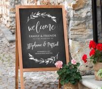 wedding photo - Printable Wedding Welcome Sign, Rustic Chalkboard Wedding, Digital File, Instant Download, Editable Text, PDF Template, 18x24, 24x36