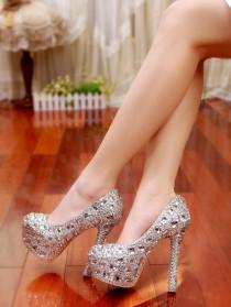 wedding photo - Wedding Bridal Pumps,Platform, Stiletto Heels, Sexy Bling Bridal Shoes ,Crystal Wedding Shoes