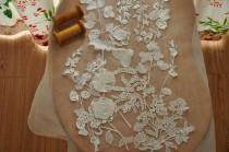 wedding photo - Beautiful 3D venice lace applique for bridal gown, wedding dress straps