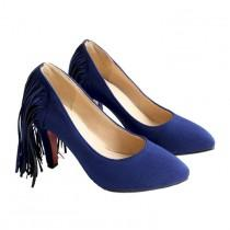 wedding photo - Tassel High Heel Women Thin Shoes Fluff Low-cut Wedding Shoes Plus Size Blue 35